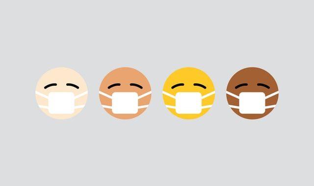 Emojis wearing masks